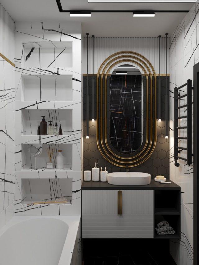 Ванная комната «Черно-белые штрихи»